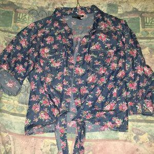 Tops - Floral denim Tie shirt